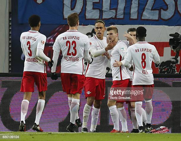Timo Werner of RB Leipzig celebrates with team mates after scoring his team's first goal during the Bundesliga match between RB Leipzig and Hertha...