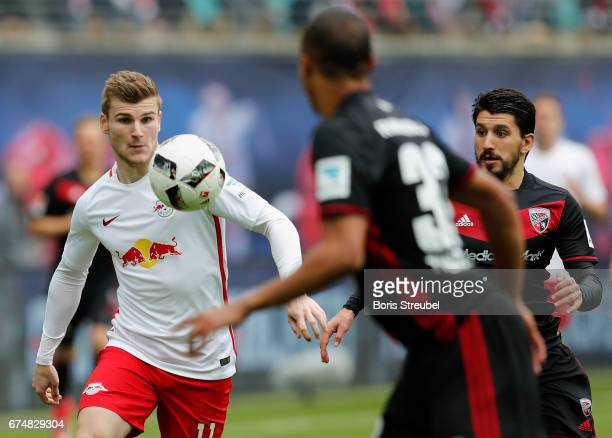 Timo Werner of RB Leipzig controls the ball during the Bundesliga match between RB Leipzig and FC Ingolstadt 04 at Red Bull Arena on April 29 2017 in...