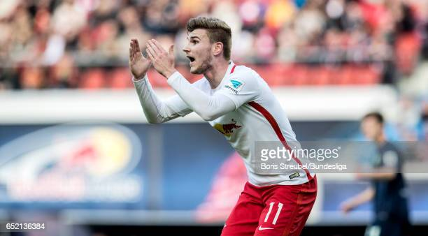 Timo Werner of RB Leipzig reacts during the Bundesliga match between RB Leipzig and VfL Wolfsburg at Red Bull Arena on March 11 2017 in Leipzig...
