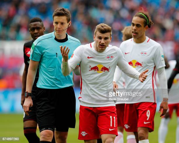 Timo Werner of RB Leipzig reacts during the Bundesliga match between RB Leipzig and FC Ingolstadt 04 at Red Bull Arena on April 29 2017 in Leipzig...