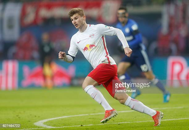 Timo Werner of RB Leipzig runs during the Bundesliga match between RB Leipzig and FC Schalke 04 at Red Bull Arena on December 3 2016 in Leipzig...