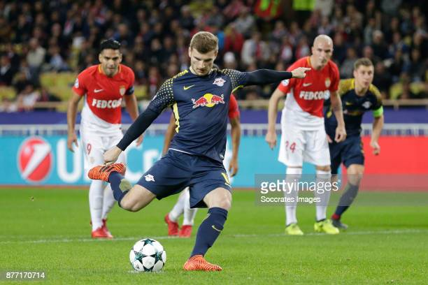 Timo Werner of RB Leipzig scores the third goal to make it 03 during the UEFA Champions League match between AS Monaco v RB Leipzig at the Stade...