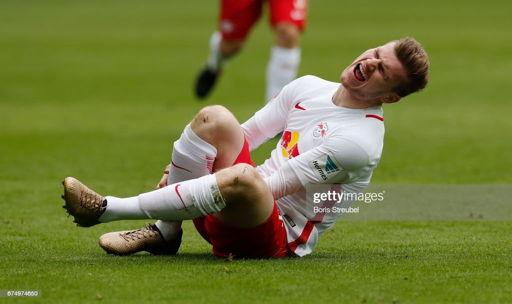 Timo Werner of RB Leipzig takes an injury during the Bundesliga match between RB Leipzig and FC Ingolstadt 04 at Red Bull Arena on April 29, 2017 in Leipzig, Germany.