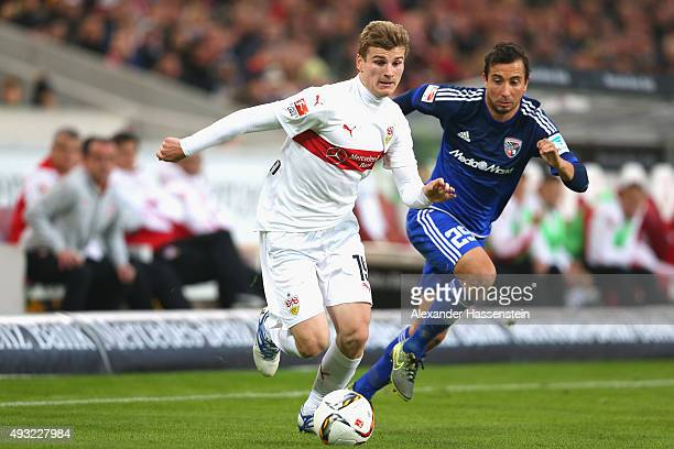 Timo Werner of Stuttgart battles for the ball with Markus Suttner of Ingolstadt during the Bundesliga match between VfB Stuttgart and FC Ingolstadt...