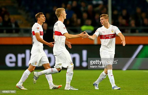 Timo Werner of Stuttgart celebrates after he scores his team' 2nd goal during the Bundesliga match between Hannover 96 and VfB Stuttgart at HDIArena...