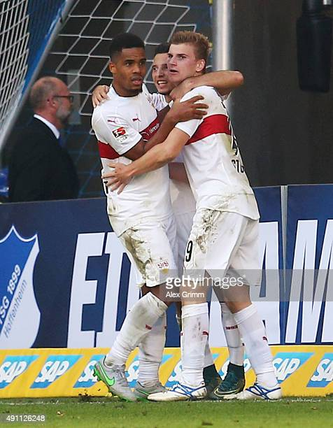 Timo Werner of Stuttgart celebrates his team's second goal with team mates Arianit Ferati and Daniel Didavi during the Bundesliga match between 1899...