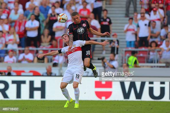 Timo Werner of Stuttgart fights for the ball with Luc Castaignos of Frankfurt during the Bundesliga match between VfB Stuttgart and Eintracht...