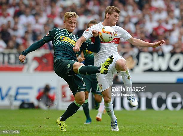 Timo Werner of Stuttgart is challenged by Oscar Wendt of Borussia Moenchengladbach during the Bundesliga match between VfB Stuttgart and Borussia...