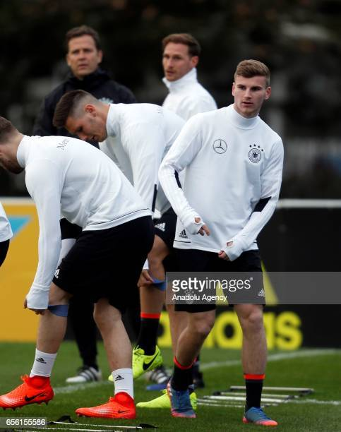 Timo Werner of the German national soccer team attends a training session ahead of the match against England at the 'Sportschule Kaiserau' in Kamen...