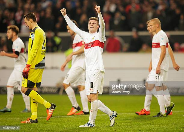 Timo Werner of VfB Stuttgart celebrates after scoring a goal and securing victory in the Bundesliga match between VfB Stuttgart and SV Darmstadt at...
