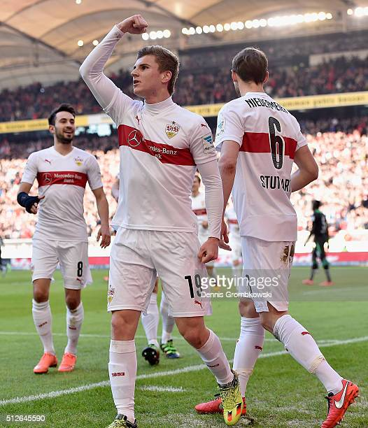 Timo Werner of VfB Stuttgart celebrates as he scores the opening goal during the Bundesliga match between VfB Stuttgart and Hannover 96 at...