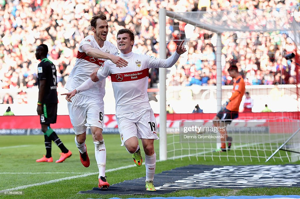 Timo Werner of VfB Stuttgart celebrates as he scores the opening goal during the Bundesliga match between VfB Stuttgart and Hannover 96 at Mercedes-Benz Arena on February 27, 2016 in Stuttgart, Germany.