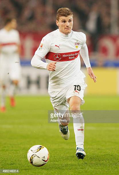 Timo Werner of VfB Stuttgart in action during the Bundesliga match between VfB Stuttgart and SV Darmstadt at MercedesBenz Arena on November 1 2015 in...