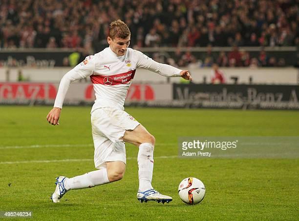 Timo Werner of VfB Stuttgart scores a goal during the Bundesliga match between VfB Stuttgart and SV Darmstadt at MercedesBenz Arena on November 1...