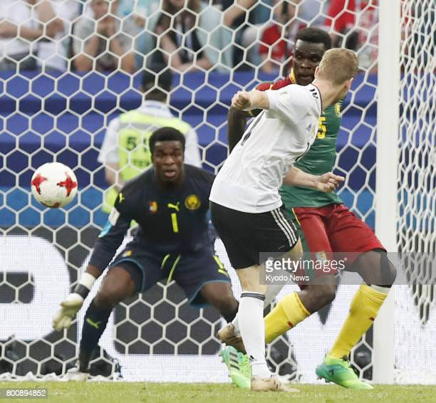 Timo Werner scores Germany's third goal in the second half of a Group B match against Cameroon in Sochi Russia at the Confederations Cup on June 25...