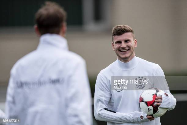 Timo Werner smiles during training of German national team ahead of the international friendly match against England at on March 21 2017 in Kamen...
