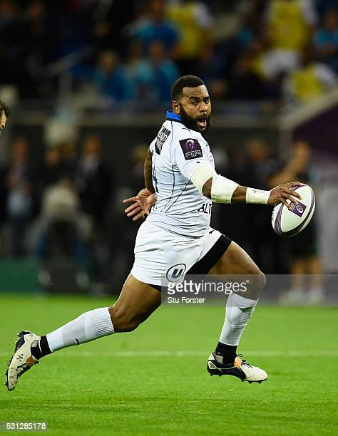 Timoci Nagusa of Montpellier in action during the European Rugby Challenge Cup Final between Harlequins and Montpellier at Grand Stade de Lyon on May...