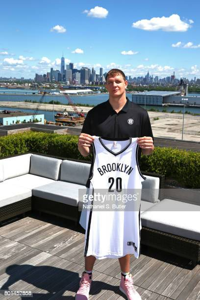 Timofey Mozgov of the Brooklyn Nets poses for a portrait after being introduced by the team on June 26 2017 at HSS Training Center in Brooklyn New...