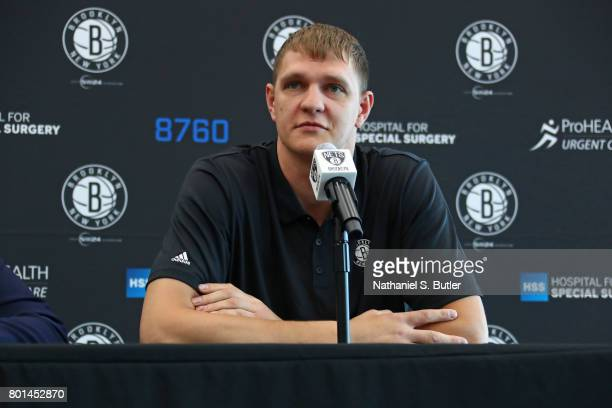 Timofey Mozgov of the Brooklyn Nets speaks to the media during his introductory press conference on June 26 2017 at HSS Training Center in Brooklyn...