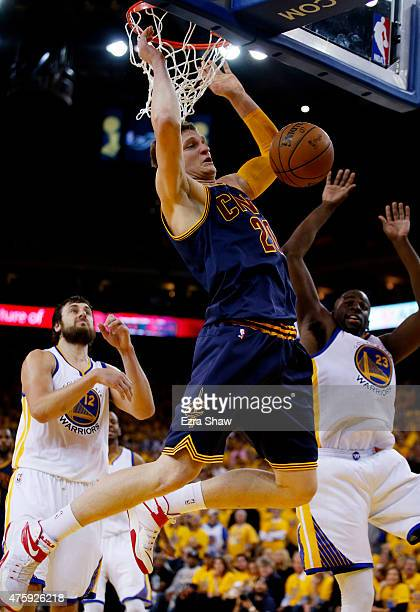 Timofey Mozgov of the Cleveland Cavaliers dunks against the Golden State Warriors in the second half during Game One of the 2015 NBA Finals at ORACLE...