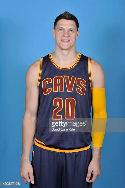 Timofey Mozgov of the Cleveland Cavaliers poses for a portrait during media day at The Cleveland Clinic Courts on September 28 2015 in Independence...