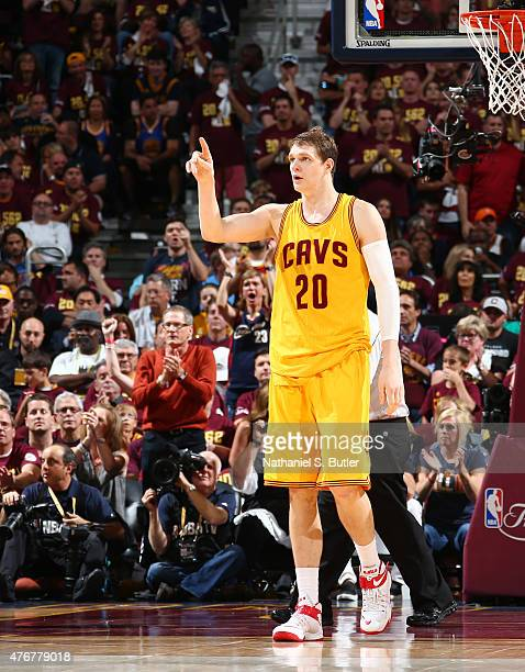 Timofey Mozgov of the Cleveland Cavaliers reacts during Game Four of the 2015 NBA Finals at The Quicken Loans Arena on June 11 2015 in Cleveland Ohio...