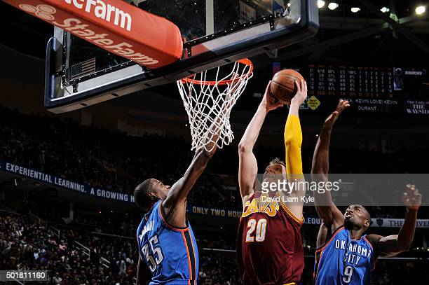 Timofey Mozgov of the Cleveland Cavaliers stb against the Oklahoma City Thunder on December 17 2015 at The Quicken Loans Arena in Cleveland Ohio NOTE...