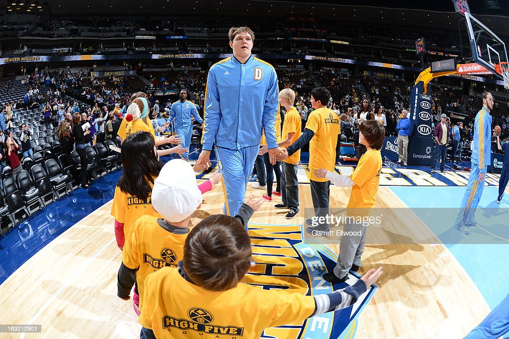 Timofey Mozgov #25 of the Denver Nuggets runs out before the game against the Los Angeles Lakers on February 25, 2013 at the Pepsi Center in Denver, Colorado.