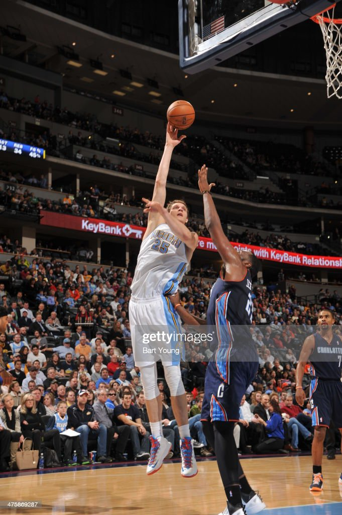 <a gi-track='captionPersonalityLinkClicked' href=/galleries/search?phrase=Timofey+Mozgov&family=editorial&specificpeople=3949705 ng-click='$event.stopPropagation()'>Timofey Mozgov</a> #25 of the Denver Nuggets shoots against the Charlotte Bobcats on January 29, 2014 at the Pepsi Center in Denver, Colorado.