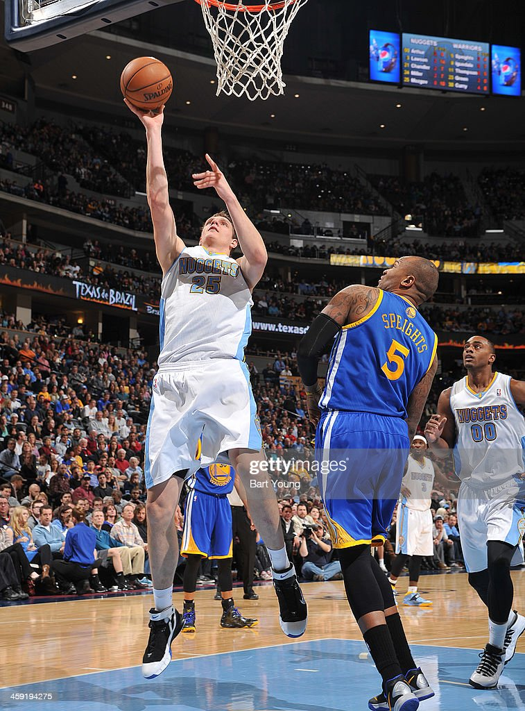 <a gi-track='captionPersonalityLinkClicked' href=/galleries/search?phrase=Timofey+Mozgov&family=editorial&specificpeople=3949705 ng-click='$event.stopPropagation()'>Timofey Mozgov</a> #25 of the Denver Nuggets shoots against the Golden State Warriors on December 23, 2013 at the Pepsi Center in Denver, Colorado.