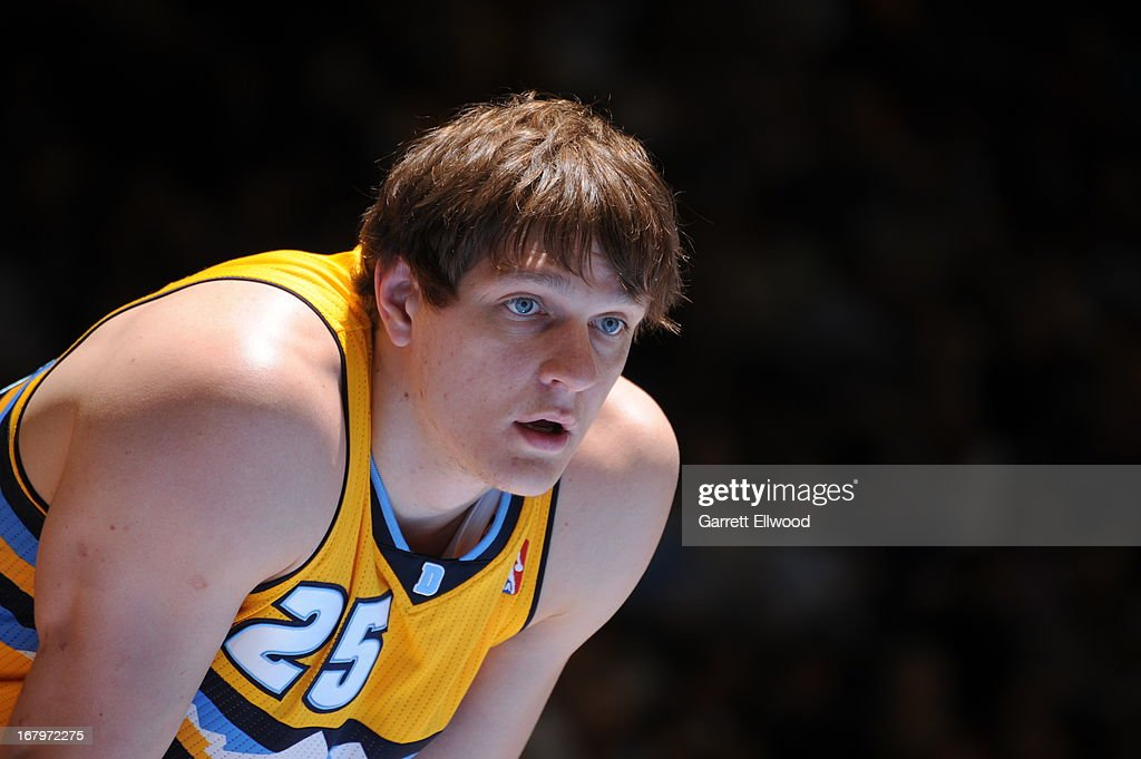 <a gi-track='captionPersonalityLinkClicked' href=/galleries/search?phrase=Timofey+Mozgov&family=editorial&specificpeople=3949705 ng-click='$event.stopPropagation()'>Timofey Mozgov</a> #25 of the Denver Nuggets stands on the court during the game against the Phoenix Suns on April 17, 2013 at the Pepsi Center in Denver, Colorado.
