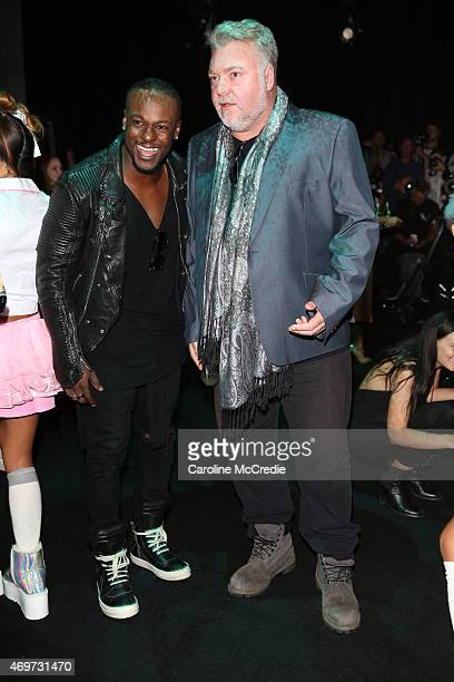 Timomatic and Kyle Sandilands attend the Bondi Bather show at MercedesBenz Fashion Week Australia 2015 at Carriageworks on April 15 2015 in Sydney...