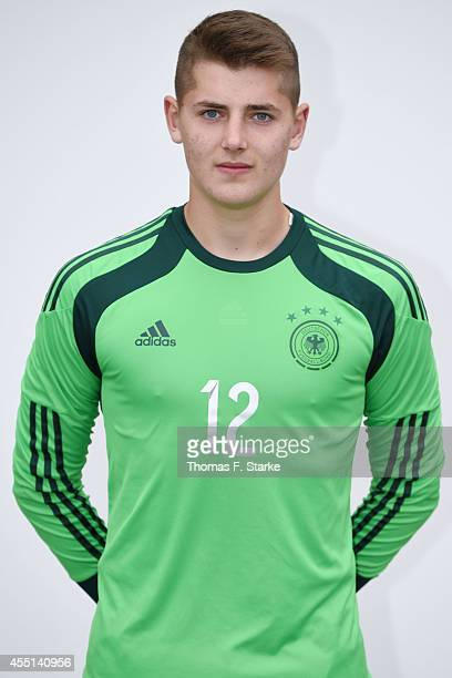 Timon Weiner poses during the team presentation of U16 Germany on September 10 2014 in Barnstorf Germany
