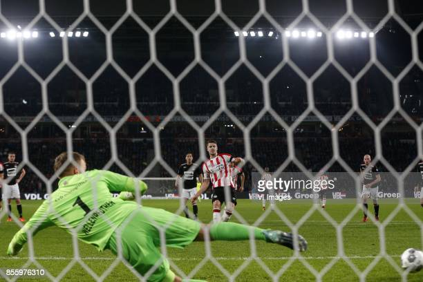 Timon Wellenreuther of Willem II Marco van Ginkel of PSV during the Dutch Eredivisie match between PSV Eindhoven and Willem II at the Phillips...