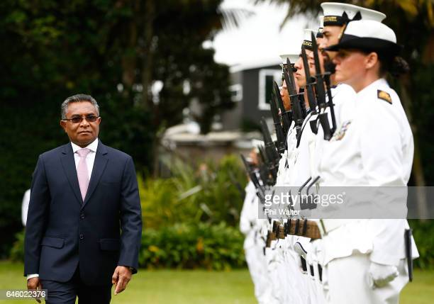 TimorLeste Prime Minister Dr Rui Maria de Araujo inspects a guard of honour during a welcome ceremony at Government House on February 28 2017 in...