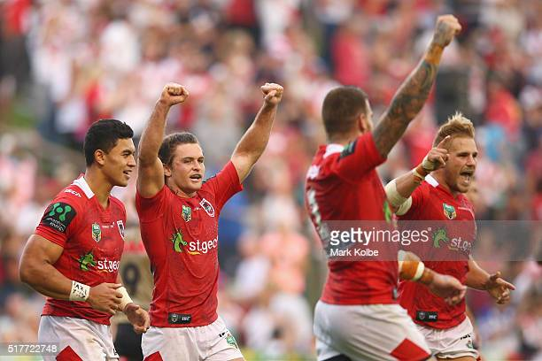 Timoteo Lafai Mitch Rein Josh Dugan and Jack De Belin of the Dragons celebrate victory during the round four NRL match between the St George...