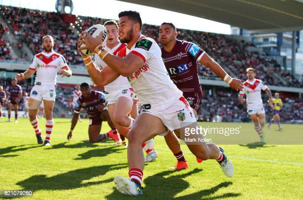 Timoteo Lafai of the Dragons gathers the ball to score during the round 20 NRL match between the St George Illawarra Dragons and the Manly Sea Eagles...