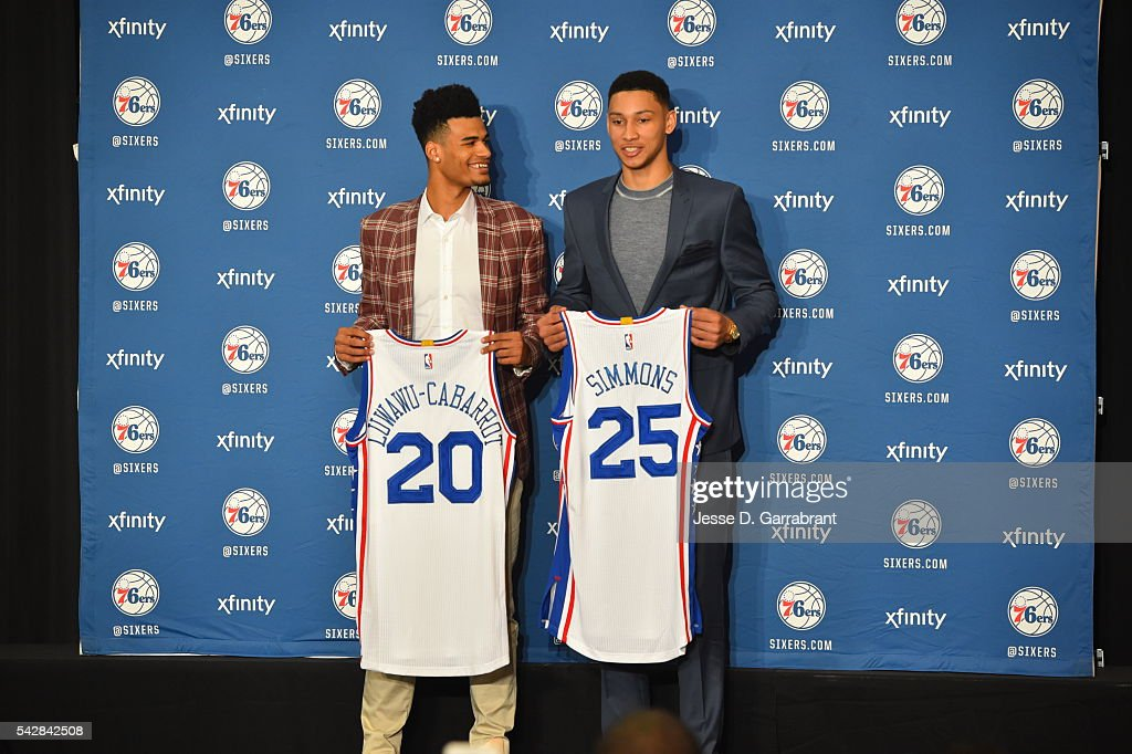 Timothé Luwawu-Cabarrot and <a gi-track='captionPersonalityLinkClicked' href=/galleries/search?phrase=Ben+Simmons+-+Basketball+Player&family=editorial&specificpeople=13900541 ng-click='$event.stopPropagation()'>Ben Simmons</a> attend a press conference after being selected by the Philadelphia 76ers in the 2016 NBA Draft on June 24, 2016 in Philadelphia, PA.