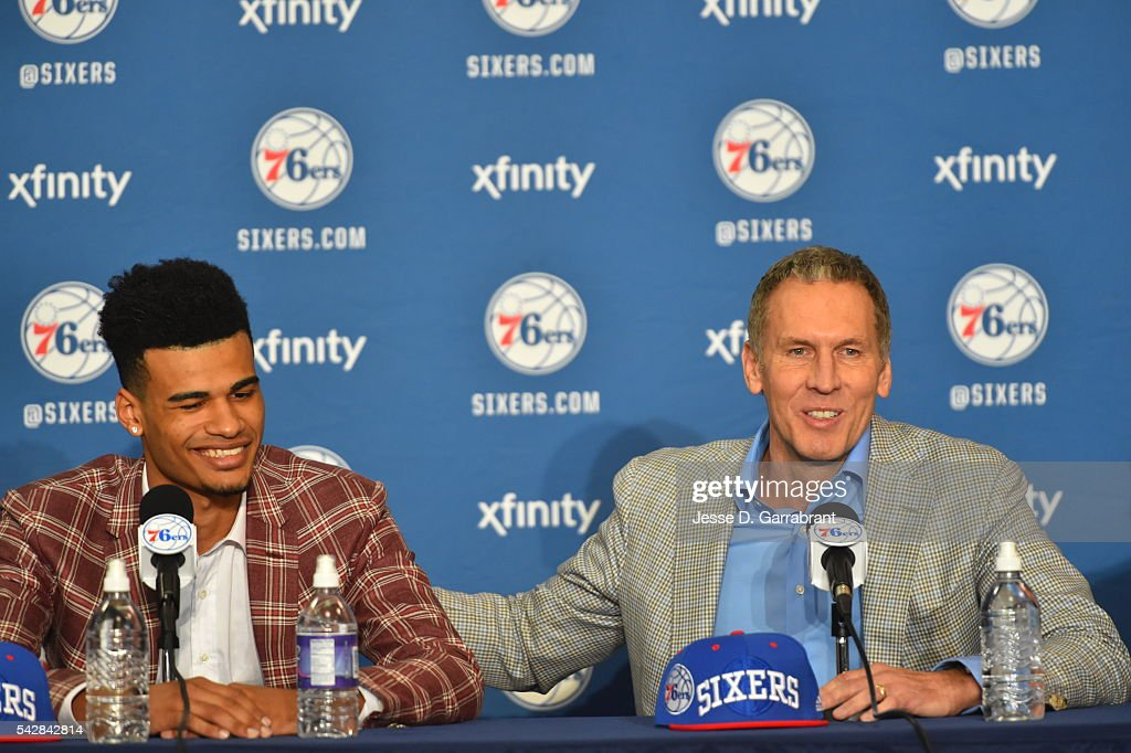 Timothé Luwawu-Cabarrot and General Manager <a gi-track='captionPersonalityLinkClicked' href=/galleries/search?phrase=Bryan+Colangelo&family=editorial&specificpeople=619854 ng-click='$event.stopPropagation()'>Bryan Colangelo</a> attend a press conference after being selected by the Philadelphia 76ers in the 2016 NBA Draft on June 24, 2016 in Philadelphia, PA.