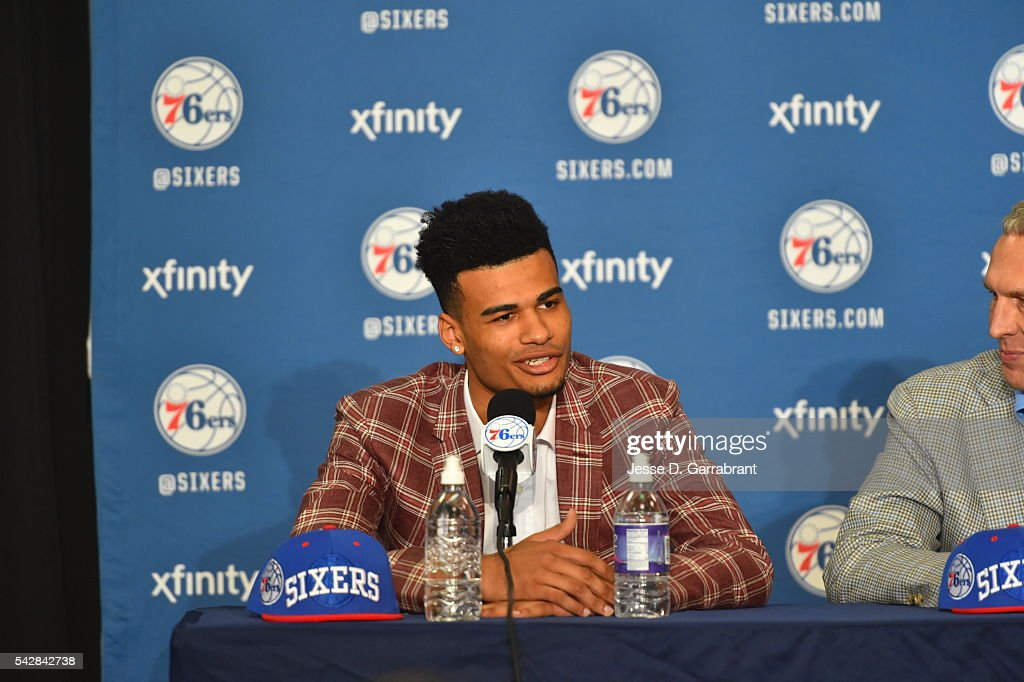 Timothé Luwawu-Cabarrot attends a press conference after being selected by the Philadelphia 76ers in the 2016 NBA Draft on June 24, 2016 in Philadelphia, PA.
