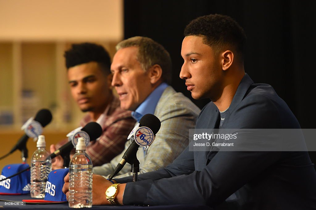 Timothé Luwawu-Cabarrot, General Manager <a gi-track='captionPersonalityLinkClicked' href=/galleries/search?phrase=Bryan+Colangelo&family=editorial&specificpeople=619854 ng-click='$event.stopPropagation()'>Bryan Colangelo</a> and <a gi-track='captionPersonalityLinkClicked' href=/galleries/search?phrase=Ben+Simmons+-+Basketball+Player&family=editorial&specificpeople=13900541 ng-click='$event.stopPropagation()'>Ben Simmons</a> attend a press conference after being selected by the Philadelphia 76ers in the 2016 NBA Draft on June 24, 2016 in Philadelphia, PA.