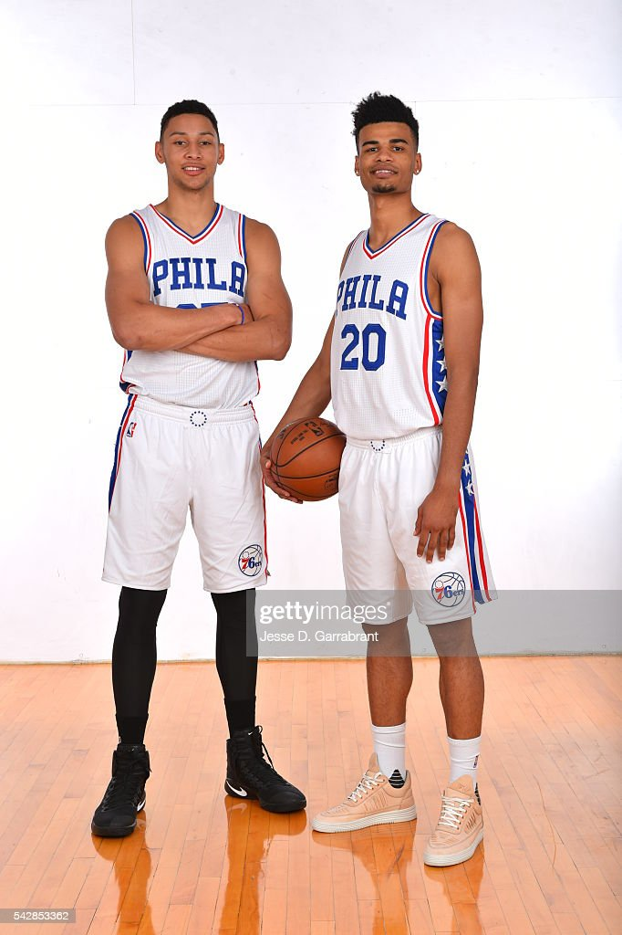 <a gi-track='captionPersonalityLinkClicked' href=/galleries/search?phrase=Timothe+Luwawu&family=editorial&specificpeople=13900576 ng-click='$event.stopPropagation()'>Timothe Luwawu</a> #20 and <a gi-track='captionPersonalityLinkClicked' href=/galleries/search?phrase=Ben+Simmons+-+Basketball+Player&family=editorial&specificpeople=13900541 ng-click='$event.stopPropagation()'>Ben Simmons</a> #25 of the Philadelphia 76ers pose for a portrait at the Philadelphia College of Osteopathic Medicine on June 24, 2015 in Philadelphia, Pennsylvania