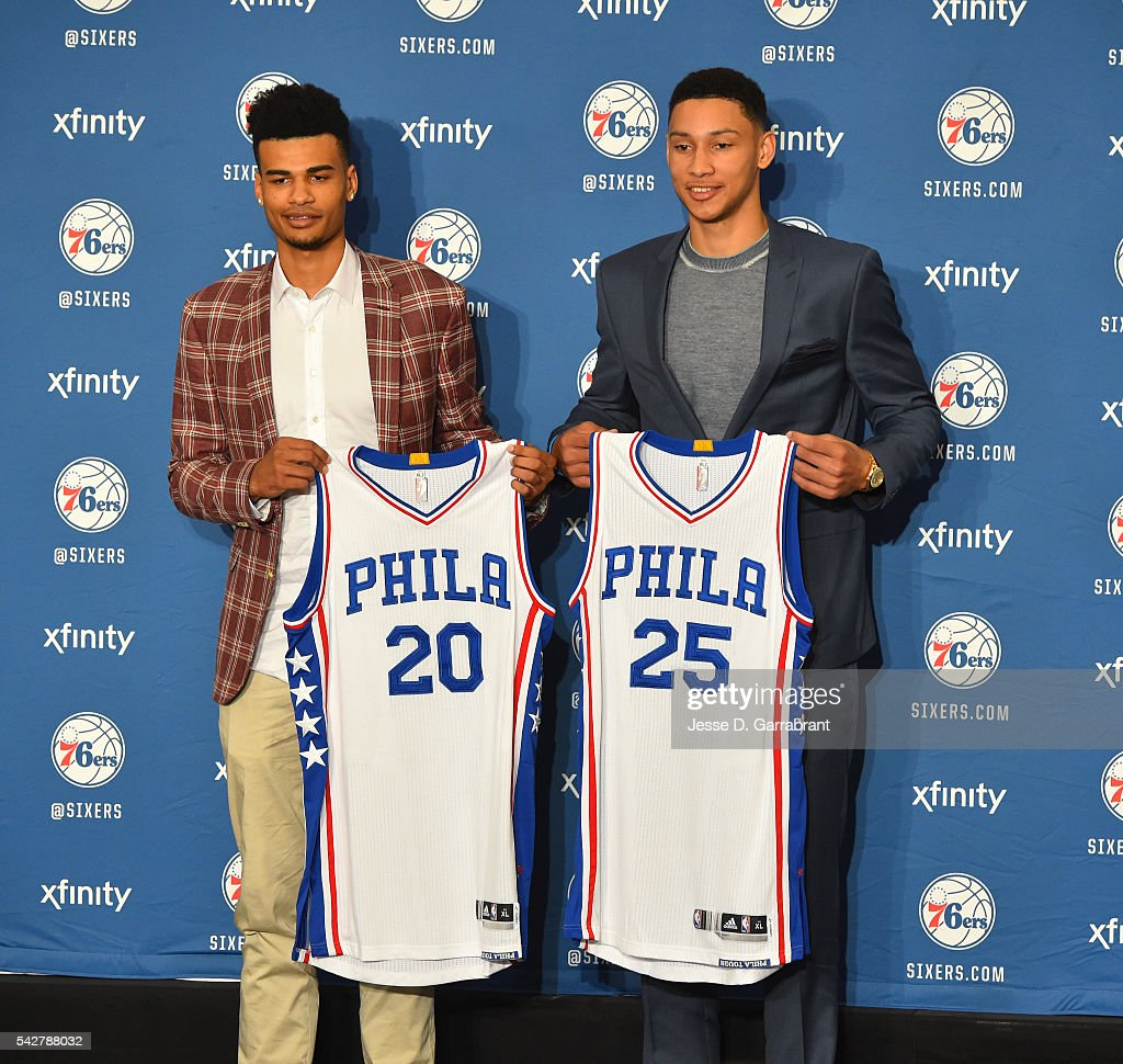 <a gi-track='captionPersonalityLinkClicked' href=/galleries/search?phrase=Timothe+Luwawu&family=editorial&specificpeople=13900576 ng-click='$event.stopPropagation()'>Timothe Luwawu</a> #20 and <a gi-track='captionPersonalityLinkClicked' href=/galleries/search?phrase=Ben+Simmons+-+Basketball+Player&family=editorial&specificpeople=13900541 ng-click='$event.stopPropagation()'>Ben Simmons</a> #25 of the Philadelphia 76ers poses for pictures at the Philadelphia College of Osteopathic Medicine on June 7, 2015 in Philadelphia, Pennsylvania