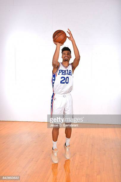 Timothe Luwawu of the Philadelphia 76ers poses for a portrait at the Philadelphia College of Osteopathic Medicine on June 24 2015 in Philadelphia...