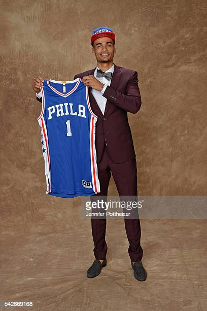 Timothe Luwawu poses for a portrait after being drafted number twenty four overall to the Philadelphia 76ers during the 2016 NBA Draft on June 23...