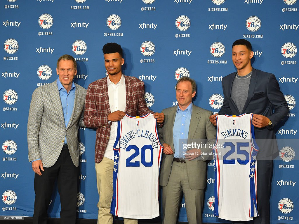 <a gi-track='captionPersonalityLinkClicked' href=/galleries/search?phrase=Timothe+Luwawu&family=editorial&specificpeople=13900576 ng-click='$event.stopPropagation()'>Timothe Luwawu</a> #20 , President of Operations Brian Colangelo and <a gi-track='captionPersonalityLinkClicked' href=/galleries/search?phrase=Ben+Simmons+-+Basketball+Player&family=editorial&specificpeople=13900541 ng-click='$event.stopPropagation()'>Ben Simmons</a> #25 of the Philadelphia 76ers and owner of the 76ers Josh Harris (c) poses for pictures at the Philadelphia College of Osteopathic Medicine on June 7, 2015 in Philadelphia, Pennsylvania