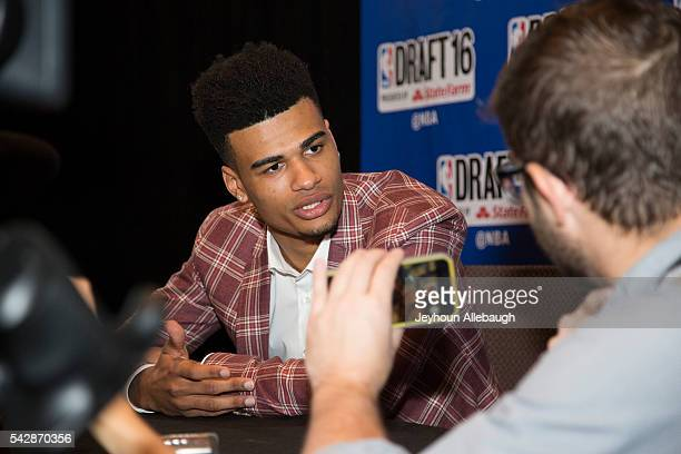 Timothe Luwawu speaks with reporters during Media Availability on June 22 2016 in New York City NOTE TO USER User expressly acknowledges and agrees...