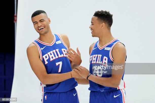 Timothe LuwawuCabarrot and Markelle Fultz of the Philadelphia 76ers pose for a portrait during the Philadelphia 76ers Media Day on September 25 2017...