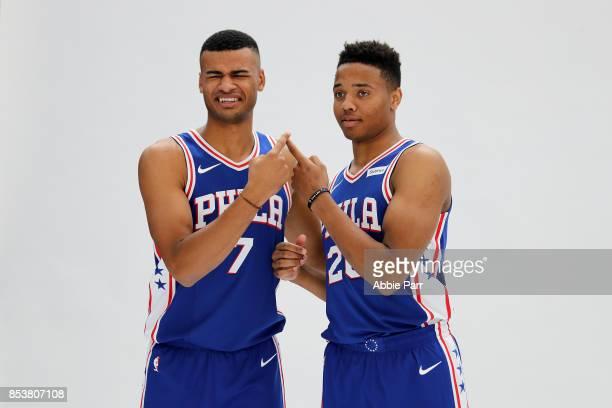 Timothe LuwawuCabarrot and Markelle Fultz of the Philadelphia 76ers joke around during a photo shoot during the Philadelphia 76ers Media Day on...