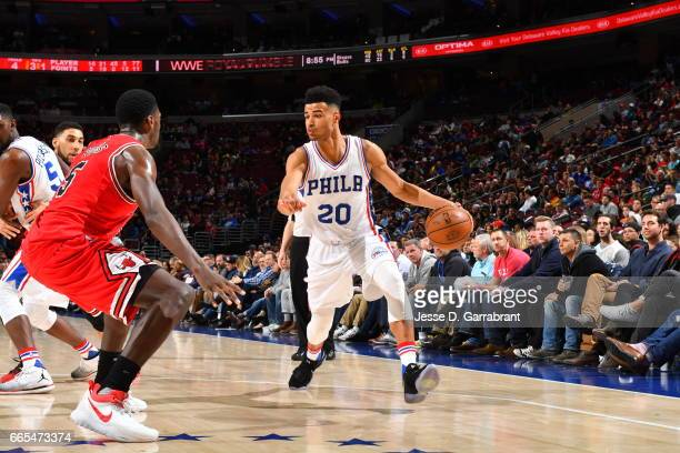 Timothe LuwawuCabarrot of the Philadelphia 76ers controls the ball against the Chicago Bulls at Wells Fargo Center on April 6 2017 in Philadelphia...